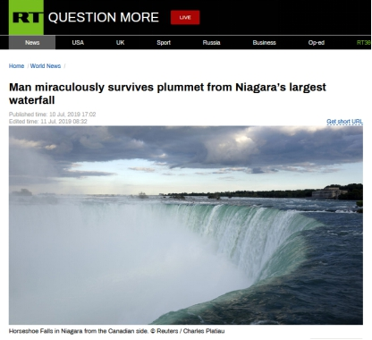 奇跡!加拿大一男子從尼亞加拉瀑布跌落,奇跡生還
