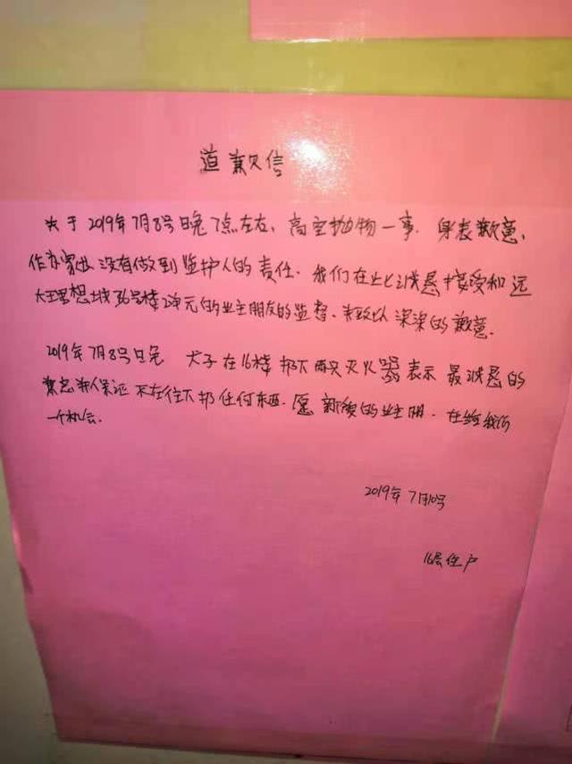 郑州13岁男孩高层扔下2个灭火器后续:男孩和其家长道歉了