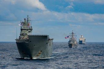 美日澳加四国海军西太平洋联合演习 美航母出动