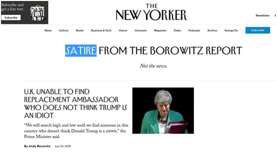 西鲁天会(奥拉星红魔)《纽约客》又挖苦:英国无法找到不认为特朗普傻的大使继任者