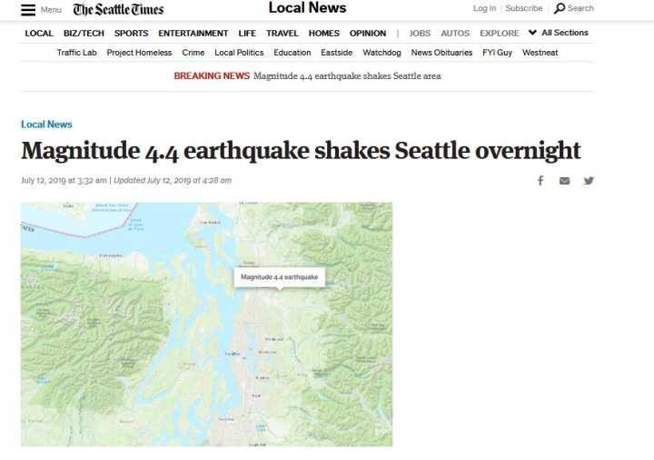 快讯!美国西雅图地区发生4.4级地震