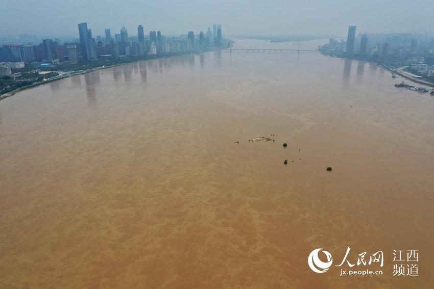 航拍图:赣江南昌段水位超警戒线