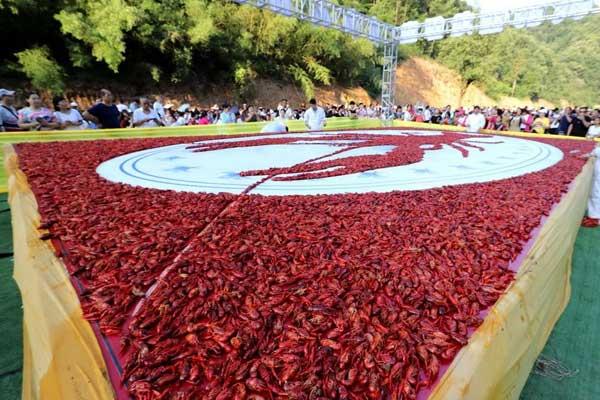 """河南洛阳""""万人龙虾宴"""" 食客共享1吨小龙虾"""