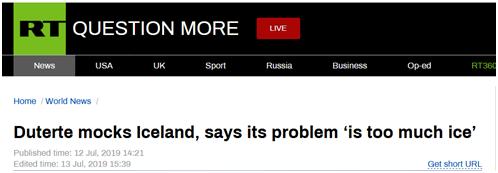 """传说中的绝杀技(作家秦牧的原名)杜特尔特又""""开怼""""了:冰岛只要冰,根本不了解菲律宾"""