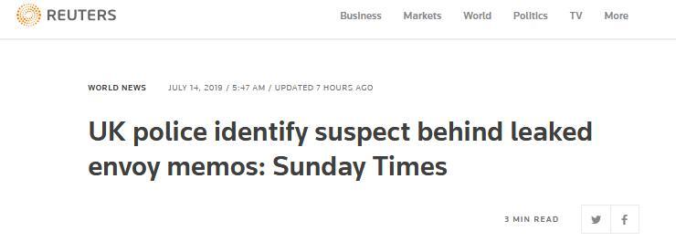 谁泄露了英国大使密电?英媒称嫌疑人已被警方确认