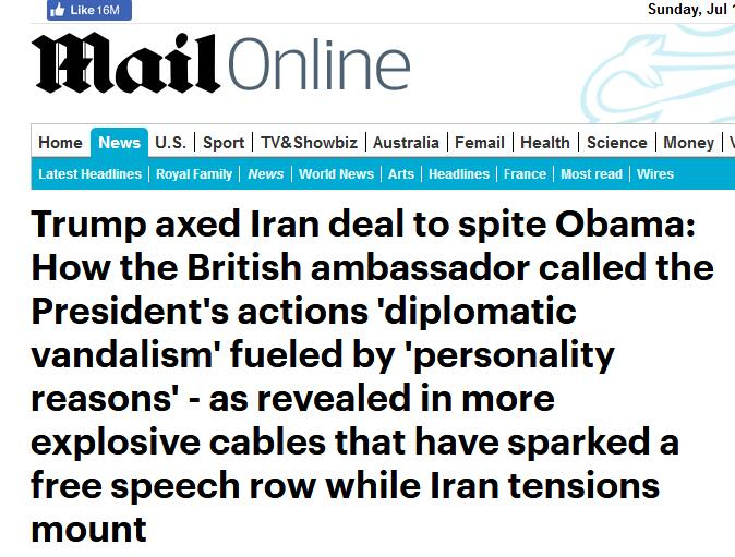 """英媒又曝大使""""密件"""":特朗普退出伊核协议,就是想让奥巴马难堪"""
