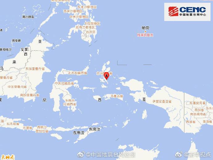 印尼哈马黑拉岛产生7.1级地动 震源深度10千米