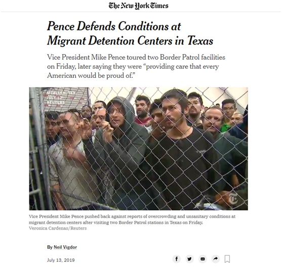 """《纽约时报》称移民拘留中心""""恶臭"""",特朗普怒怼:假新闻!"""