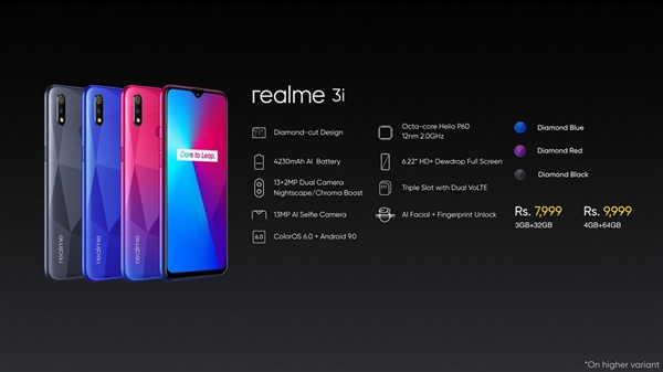 realme在印度推出新千元机realme 3i