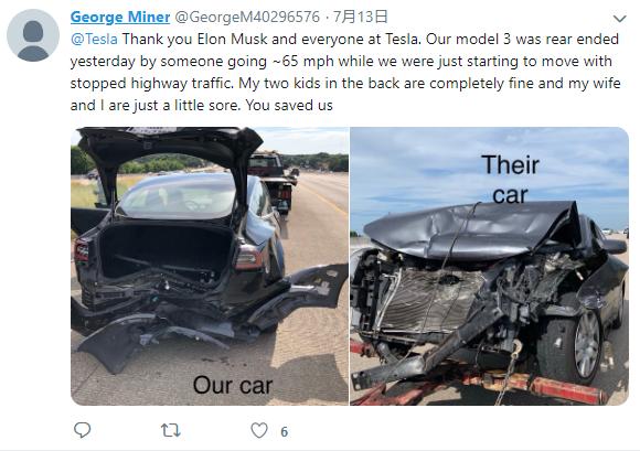 Model 3高速被惨烈追尾 车主感谢特斯拉救了命