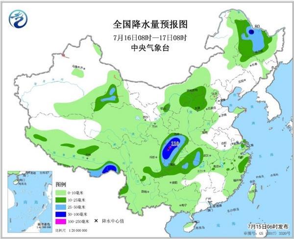 南方强降雨落区将北抬 东北华北雷雨频繁