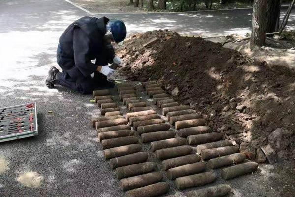 哈尔滨一公园现56枚日伪时期炮弹