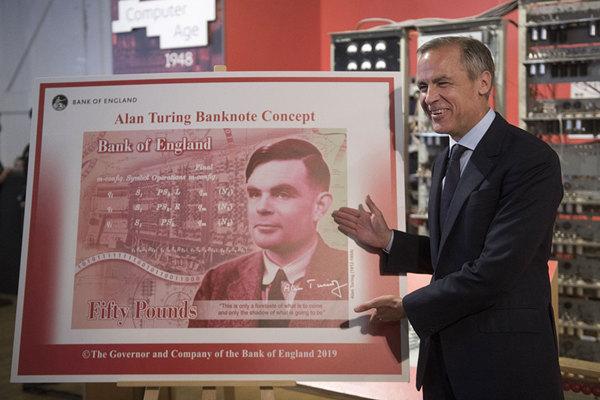 """英央行行长宣布""""人工智能之父""""图灵登上50英镑新钞"""