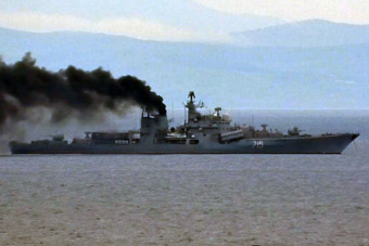 新的伪装手段?俄军现代级驱逐舰出港黑烟滚滚