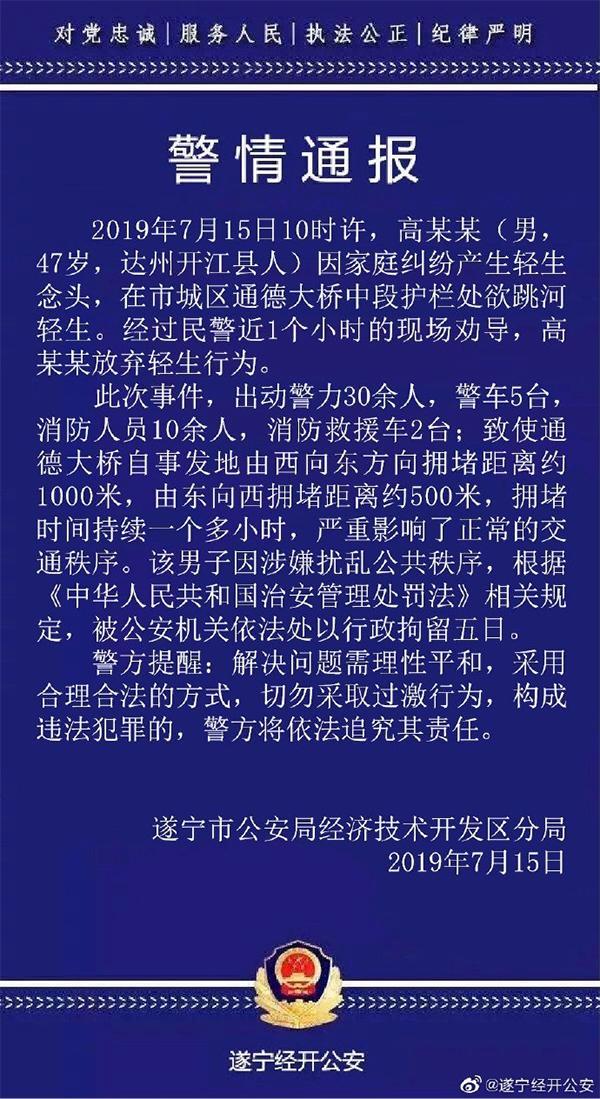 四川遂宁一男子因家庭纠纷欲跳河致交通拥堵,被行拘五日