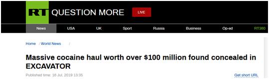 挖掘机内藏毒品?澳警方查获价值超1亿美元可卡因