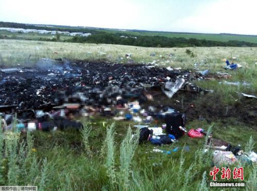 图三:资料图:当地时间2014年7月17日,马航MH17班机从阿姆斯特丹飞往吉隆坡途中,在乌克兰东部坠毁,机上298人全部罹难。图为乌克兰顿涅茨克地区,马来西亚航空公司MH17航班坠毁地。