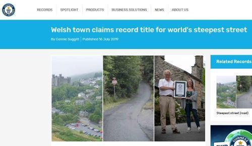 """英国威尔士小街夺""""全球最斜街""""称号 坡度达37.5%"""