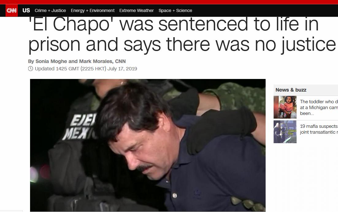 快讯!墨西哥大毒枭古兹曼被判终身监禁