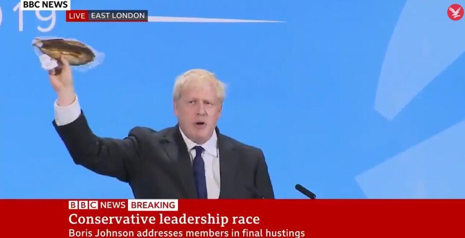 """说到""""脱欧""""的必要性 英首相热门候选人掏出了一条腌鱼"""