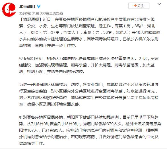 """北京通报""""诺如疫情""""调查结果:10人偷排偷放未经处理的生活污水,已被刑拘"""