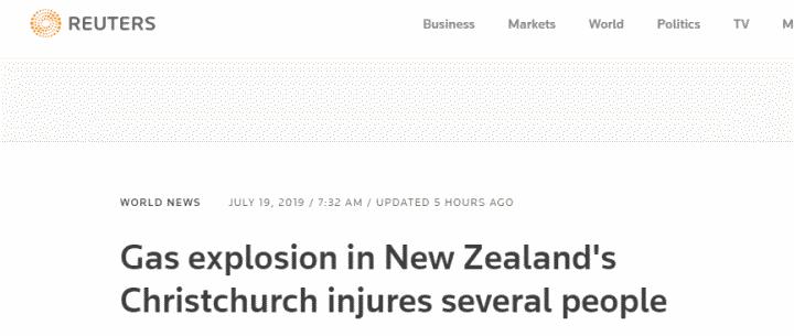 新西兰克赖斯特彻奇发生爆炸致6伤,爆炸现场附近建筑出现晃动