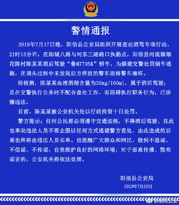 山东阳信一男子酒后驾车遇交警检查,倒车逃跑时撞坏警车被拘