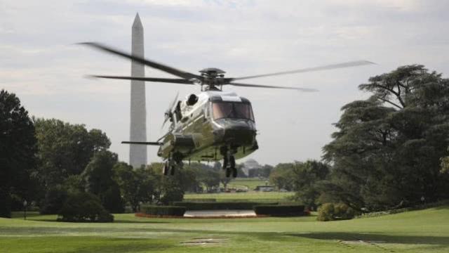 """美国总统专用直升机被曝""""高风险"""" 曾在白宫草坪留下焦痕"""