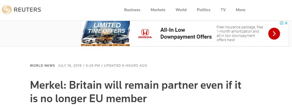 我爱香港之恭喜发财临颍租房默克尔:即便英国脱欧,也仍将是合作伙伴