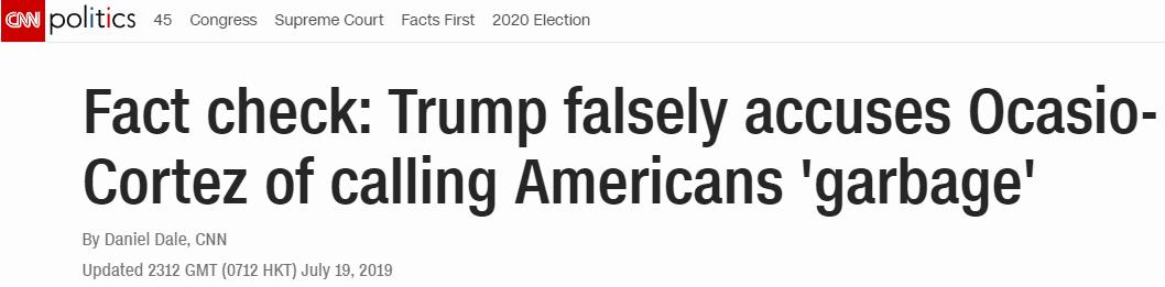 """特朗普批女议员""""说美国是垃圾"""",CNN查了查发现她没说过"""