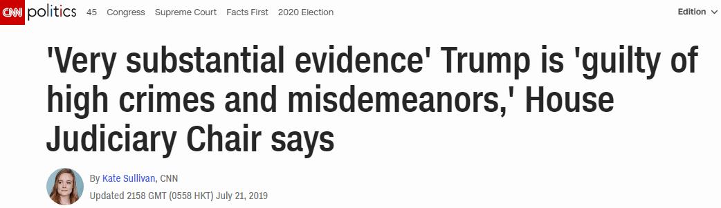 """美众院司法委员会主席:穆勒报告提供""""充分证据"""",证明特朗普""""犯重罪"""""""