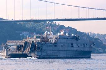 美军科幻运输船离开黑海 曾用同款测试电磁炮