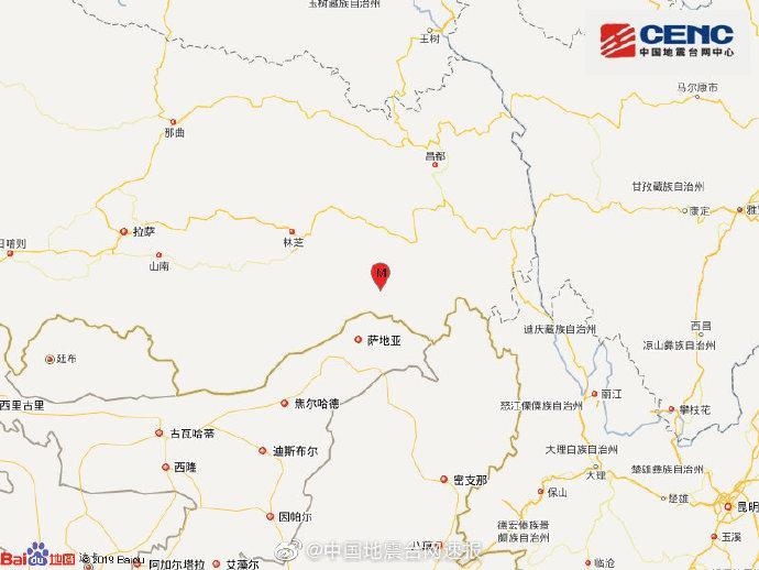 西藏林芝市察隅县发生4.0级地震 震源深度6千米