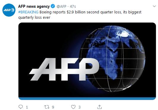 快讯!波音公司第二季度亏损29亿美元