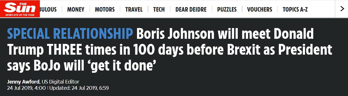 """英媒推测:""""脱欧""""期限前,新首相要与特朗普会面3次"""