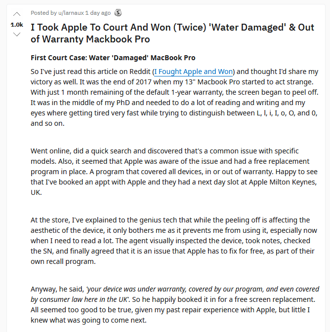 MacBook Pro用户起诉苹果两次:两次均胜诉