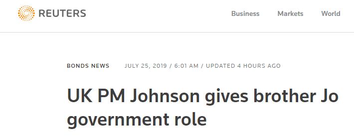 英国新首相上任第一天,任命弟弟当大臣