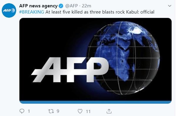 突发!阿富汗首都接连发生三起炸弹袭击,至少5人死亡