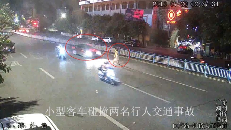 两女子凌晨过马路被撞飞!肇事司机又是这样做!