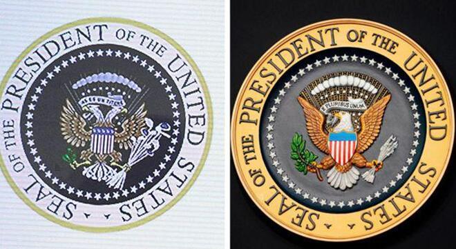 """被坑了?特朗普当众演讲背后徽章却是""""拿高尔夫球杆的双头鹰"""""""