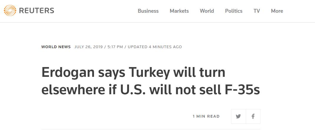 埃尔多安:美国不卖F35,土耳其将从别处购买战斗机