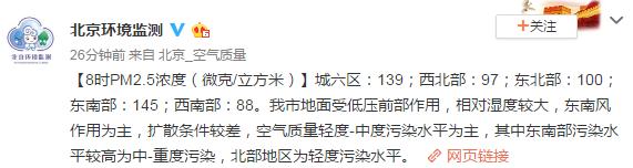 北京市空气质量目前处于轻度-中度污染水平 相对湿度较大