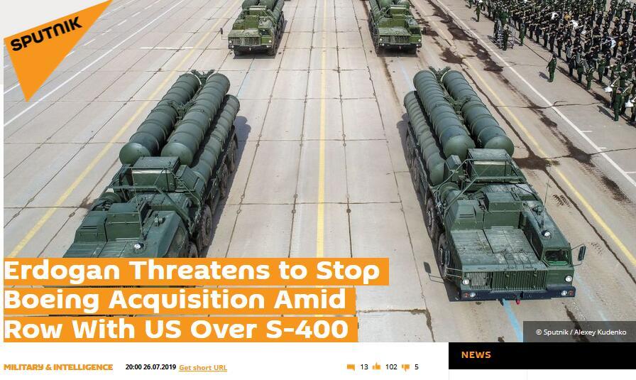 """接收俄S400被美国用制裁威胁,埃尔多安""""回敬"""":重新考虑采购波音客机"""