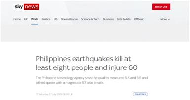 菲律宾北部连发三次地震 目前已致8人死亡