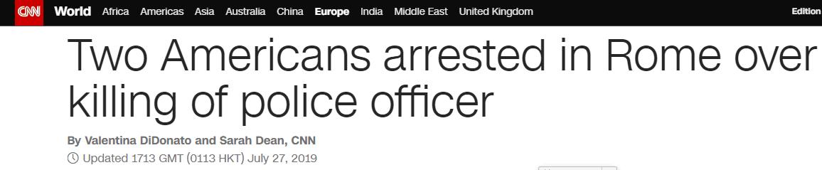 """两美国青年在意大利""""度假"""",连捅警察8刀致死被捕"""