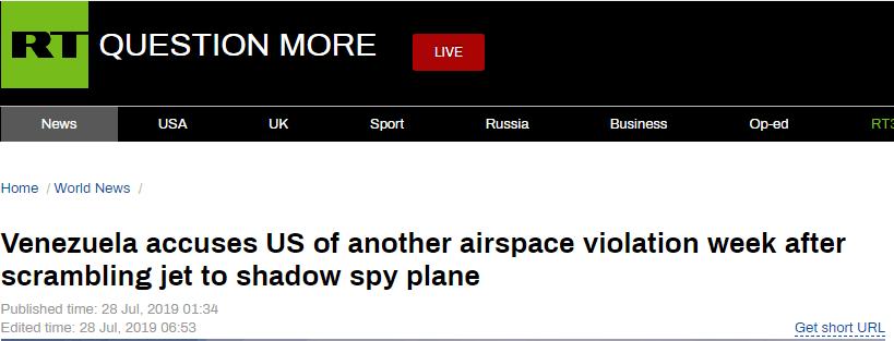 我国经济网方针cngay时隔一周,委内瑞拉斥责美侦察机再次侵略领空