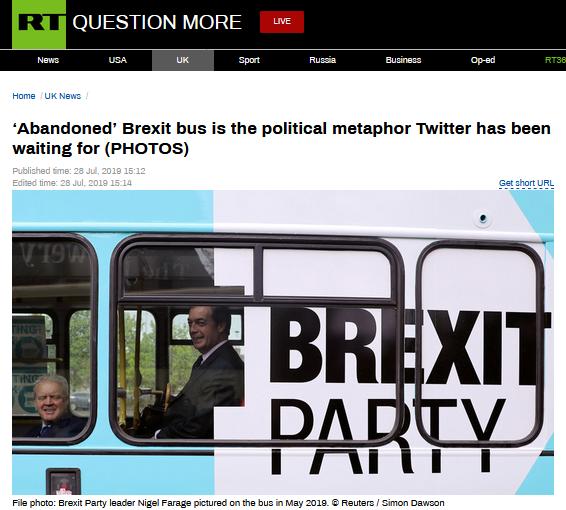 """脱欧党巴士路边被困进退两难,被讽暗示""""脱欧僵局"""""""