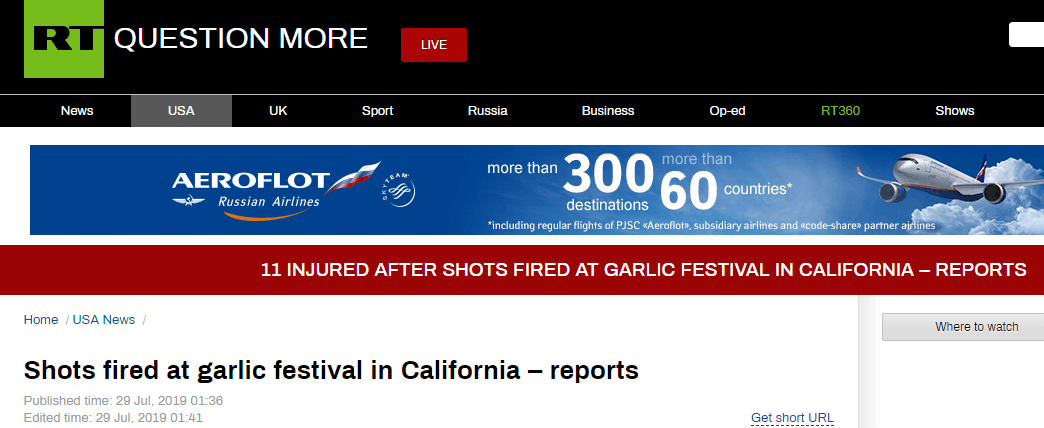"""突发!加州""""大蒜狂欢节""""发生枪击案,至少11人受伤"""