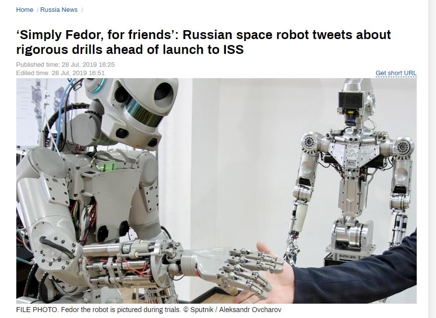 会开玩笑还能发推特?俄下月将把这个机器人助手送至国际空间站
