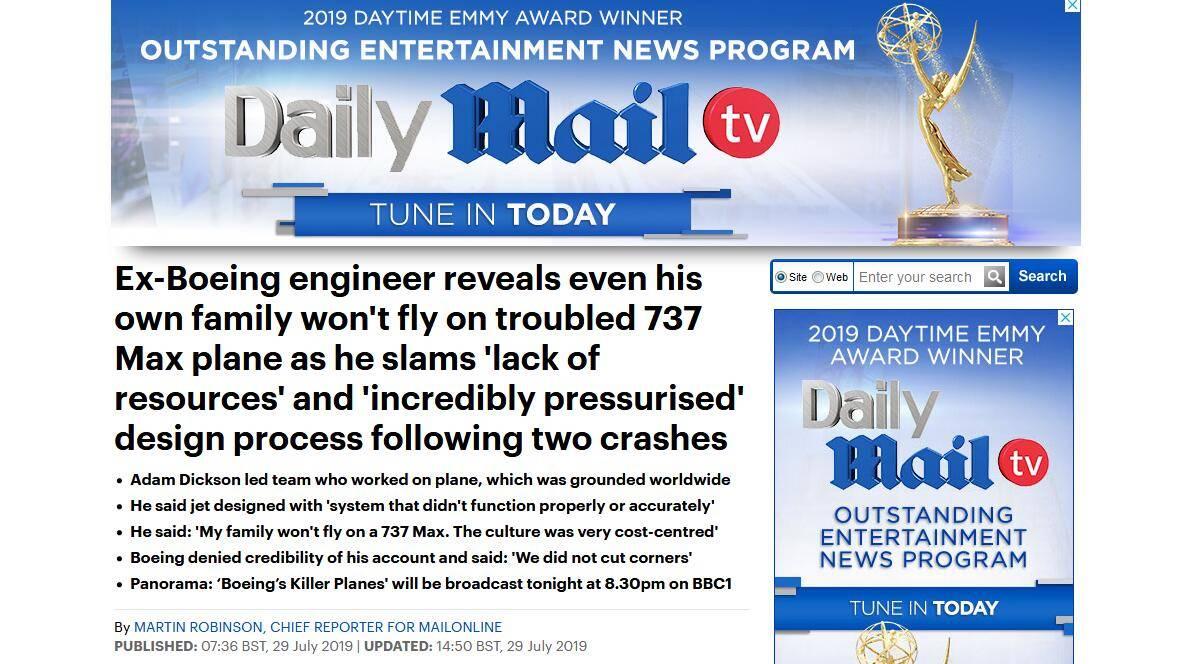波音前工程师谈737 MAX机型缺陷:我的家人不会乘坐